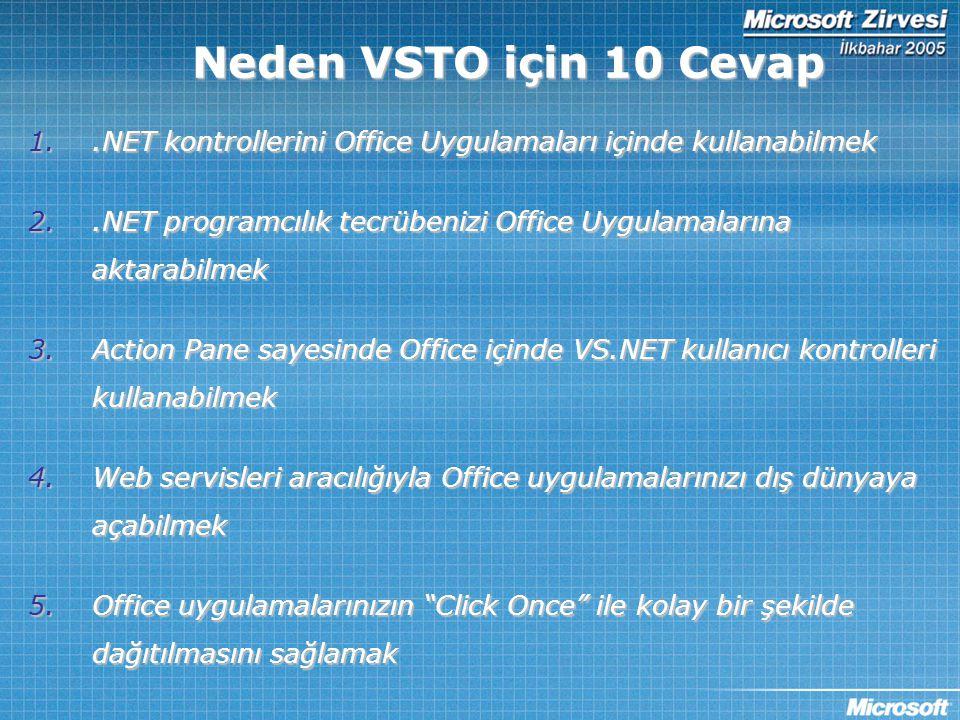 Neden VSTO için 10 Cevap 1..NET kontrollerini Office Uygulamaları içinde kullanabilmek 2..NET programcılık tecrübenizi Office Uygulamalarına aktarabil
