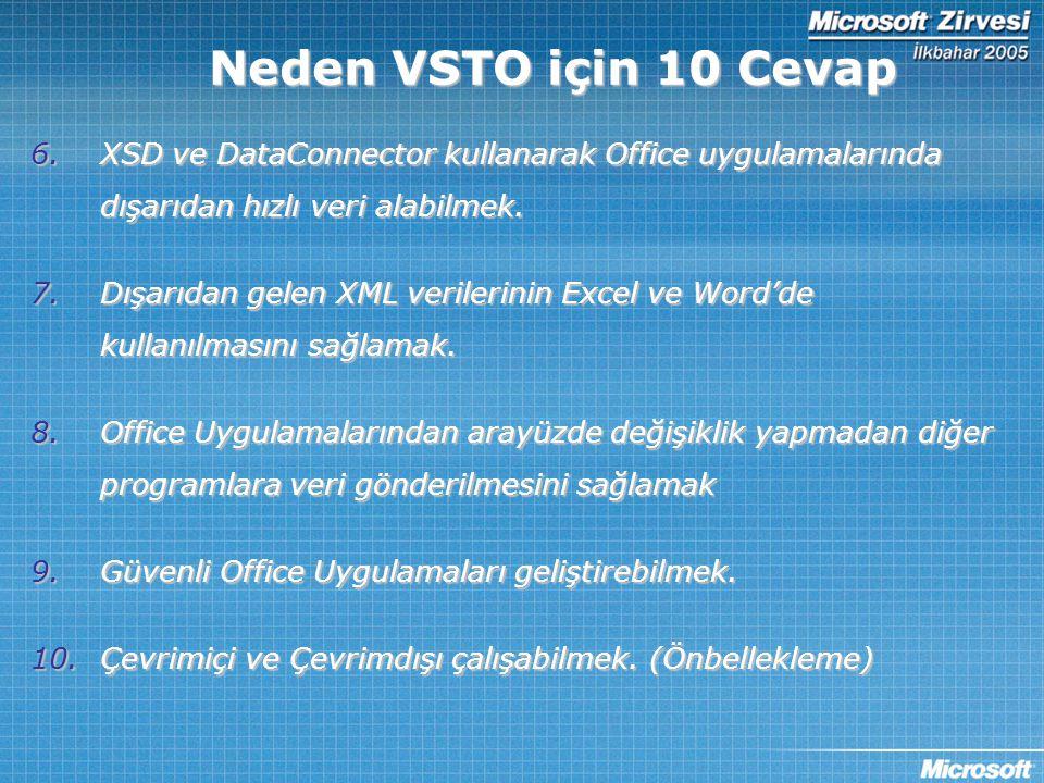 6.XSD ve DataConnector kullanarak Office uygulamalarında dışarıdan hızlı veri alabilmek. 7.Dışarıdan gelen XML verilerinin Excel ve Word'de kullanılma
