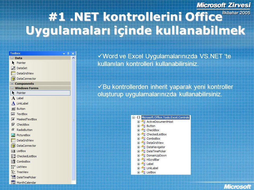 DEMO 1 –.NET Controls VS.NET 2005 SQL SERVER EXCEL 2003 Amaç: SQL Server'dan gelen canlı bilgilerin Excel'de gösterilmesi.