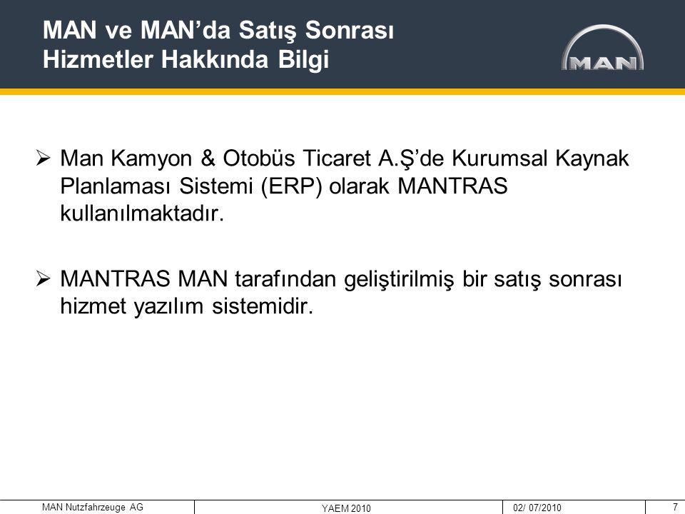 MAN Nutzfahrzeuge AG 02/ 07/2010 YAEM 2010 7  Man Kamyon & Otobüs Ticaret A.Ş'de Kurumsal Kaynak Planlaması Sistemi (ERP) olarak MANTRAS kullanılmakt