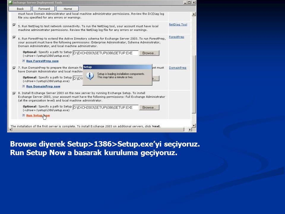 Browse diyerek Setup>1386>Setup.exe'yi seçiyoruz. Run Setup Now a basarak kuruluma geçiyoruz.