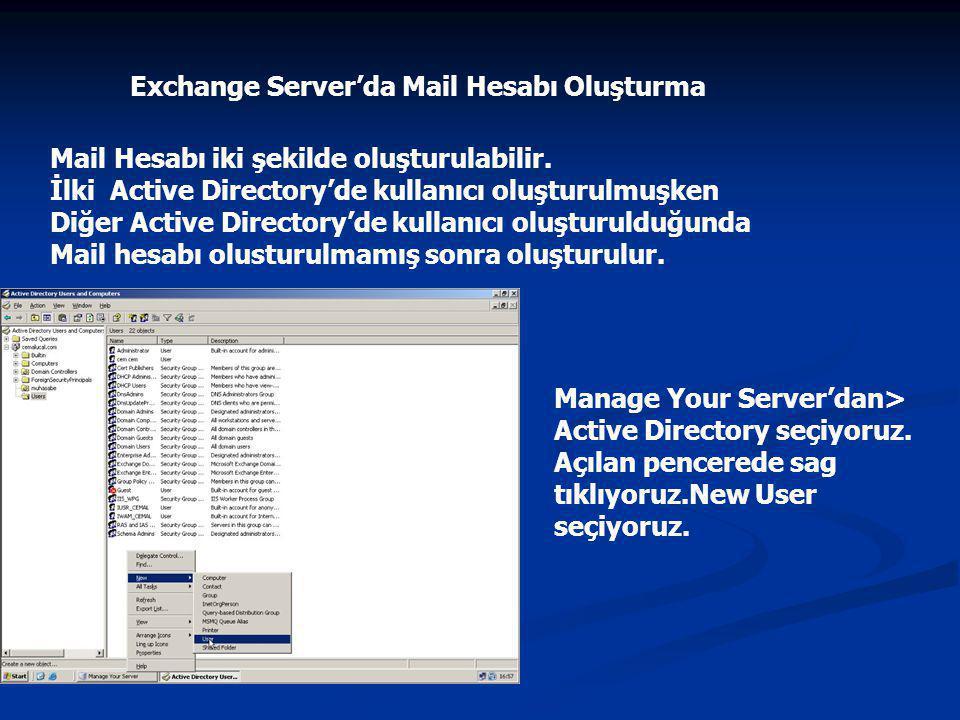 Exchange Server'da Mail Hesabı Oluşturma Mail Hesabı iki şekilde oluşturulabilir.