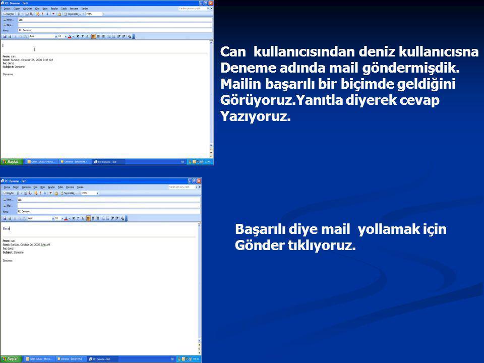 Can kullanıcısından deniz kullanıcısna Deneme adında mail göndermişdik.