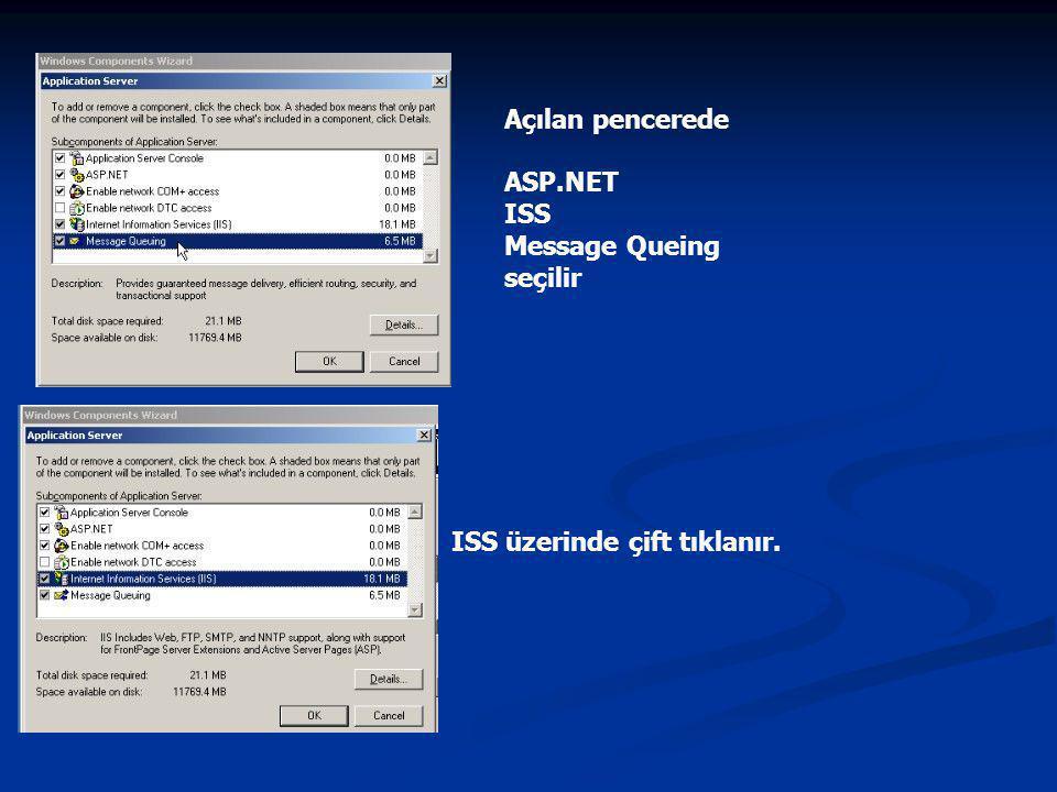 Açılan pencerede ASP.NET ISS Message Queing seçilir ISS üzerinde çift tıklanır.