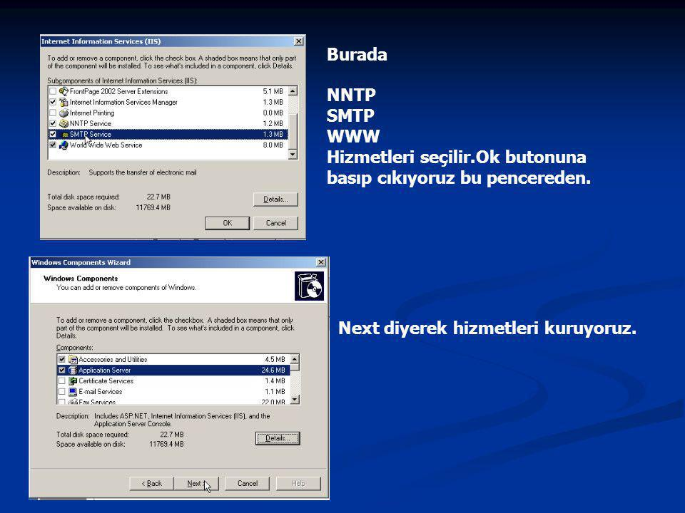 Burada NNTP SMTP WWW Hizmetleri seçilir.Ok butonuna basıp cıkıyoruz bu pencereden.