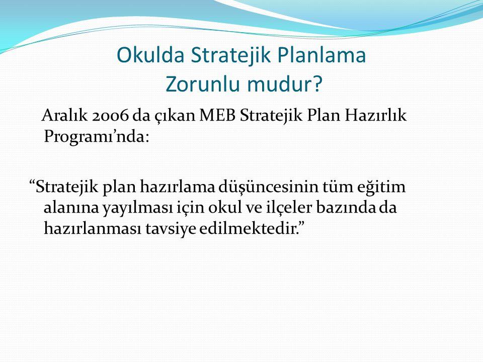 """Okulda Stratejik Planlama Zorunlu mudur? Aralık 2006 da çıkan MEB Stratejik Plan Hazırlık Programı'nda: """"Stratejik plan hazırlama düşüncesinin tüm eği"""