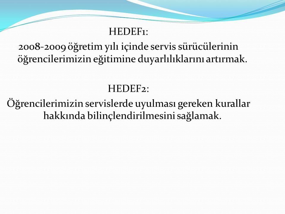 HEDEF1: 2008-2009 öğretim yılı içinde servis sürücülerinin öğrencilerimizin eğitimine duyarlılıklarını artırmak. HEDEF2: Öğrencilerimizin servislerde