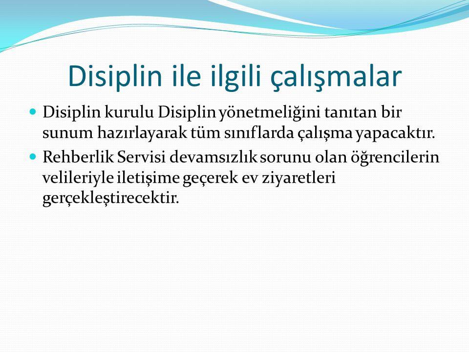 Disiplin ile ilgili çalışmalar  Disiplin kurulu Disiplin yönetmeliğini tanıtan bir sunum hazırlayarak tüm sınıflarda çalışma yapacaktır.  Rehberlik