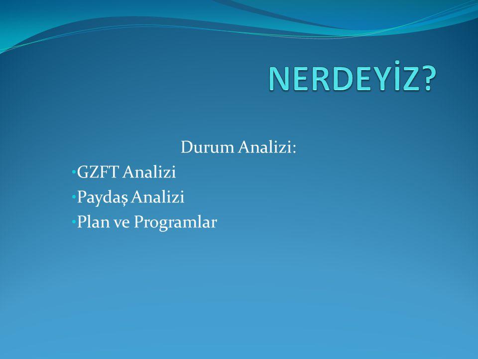 Durum Analizi: • GZFT Analizi • Paydaş Analizi • Plan ve Programlar