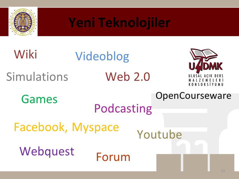 Yeni Teknolojiler 13 Web 2.0 Wiki Simulations Games Facebook, Myspace Webquest Videoblog Youtube Forum Podcasting OpenCourseware