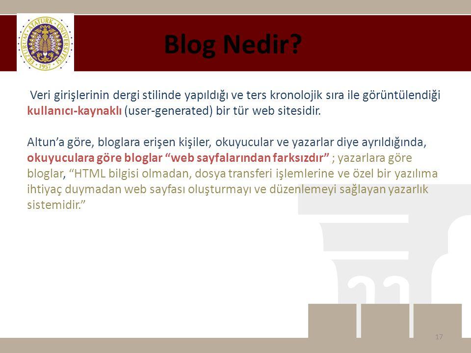 Veri girişlerinin dergi stilinde yapıldığı ve ters kronolojik sıra ile görüntülendiği kullanıcı-kaynaklı (user-generated) bir tür web sitesidir.