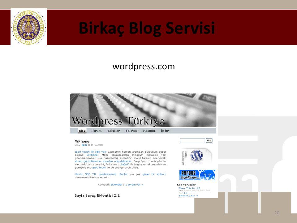 wordpress.com Birkaç Blog Servisi 20