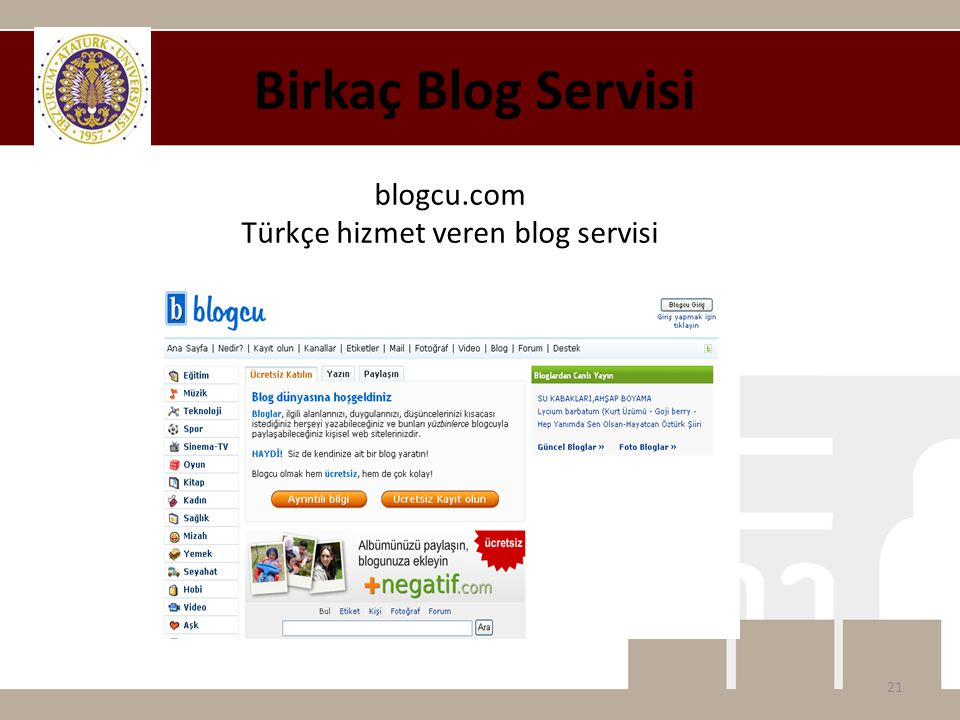 Birkaç Blog Servisi blogcu.com Türkçe hizmet veren blog servisi 21