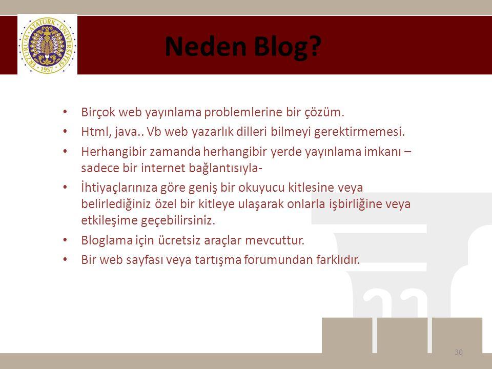 Neden Blog.• Birçok web yayınlama problemlerine bir çözüm.