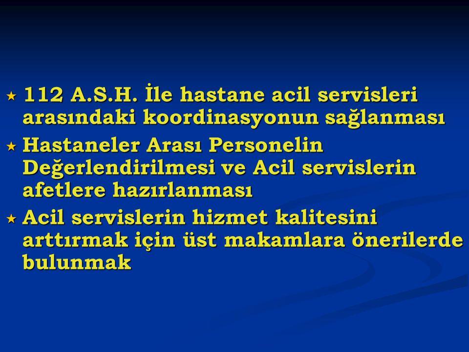  112 A.S.H. İle hastane acil servisleri arasındaki koordinasyonun sağlanması  Hastaneler Arası Personelin Değerlendirilmesi ve Acil servislerin afet