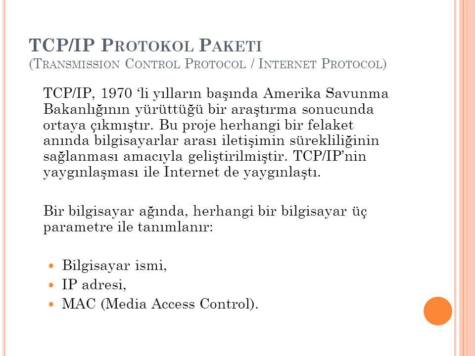 TCP/IP P ROTOKOL P AKETI (T RANSMISSION C ONTROL P ROTOCOL / I NTERNET P ROTOCOL ) TCP/IP, 1970 'li yılların başında Amerika Savunma Bakanlığının yürüttüğü bir araştırma sonucunda ortaya çıkmıştır.
