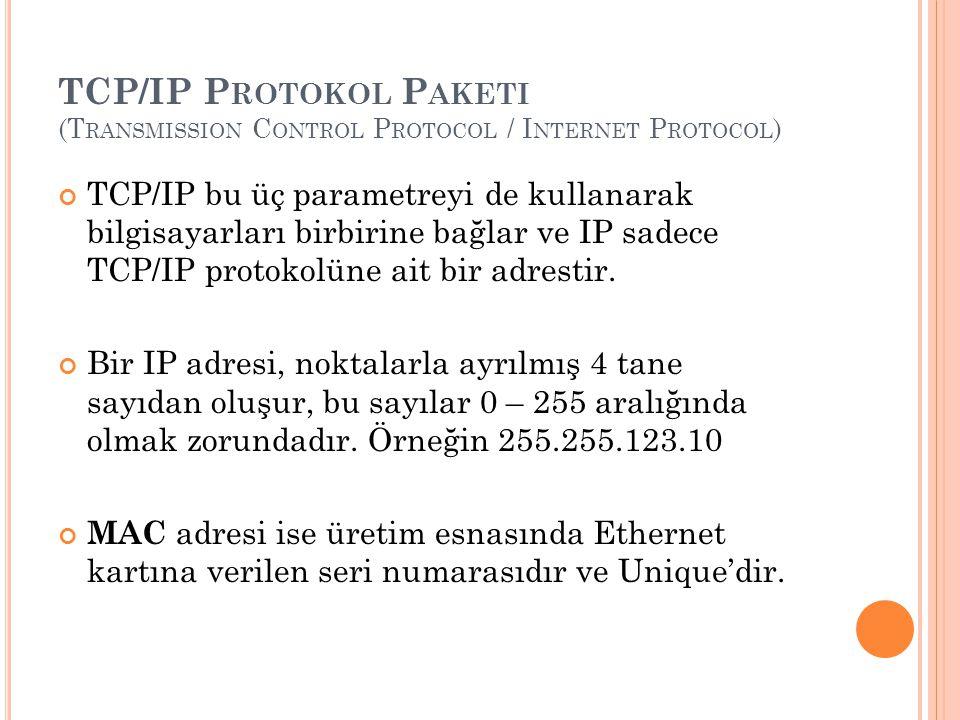 TCP/IP P ROTOKOL P AKETI (T RANSMISSION C ONTROL P ROTOCOL / I NTERNET P ROTOCOL ) TCP/IP bu üç parametreyi de kullanarak bilgisayarları birbirine bağlar ve IP sadece TCP/IP protokolüne ait bir adrestir.