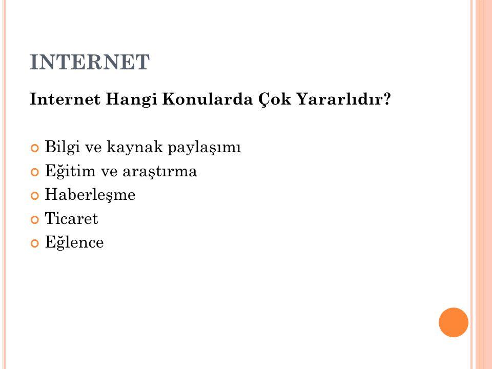 INTERNET Internet Hangi Konularda Çok Yararlıdır.