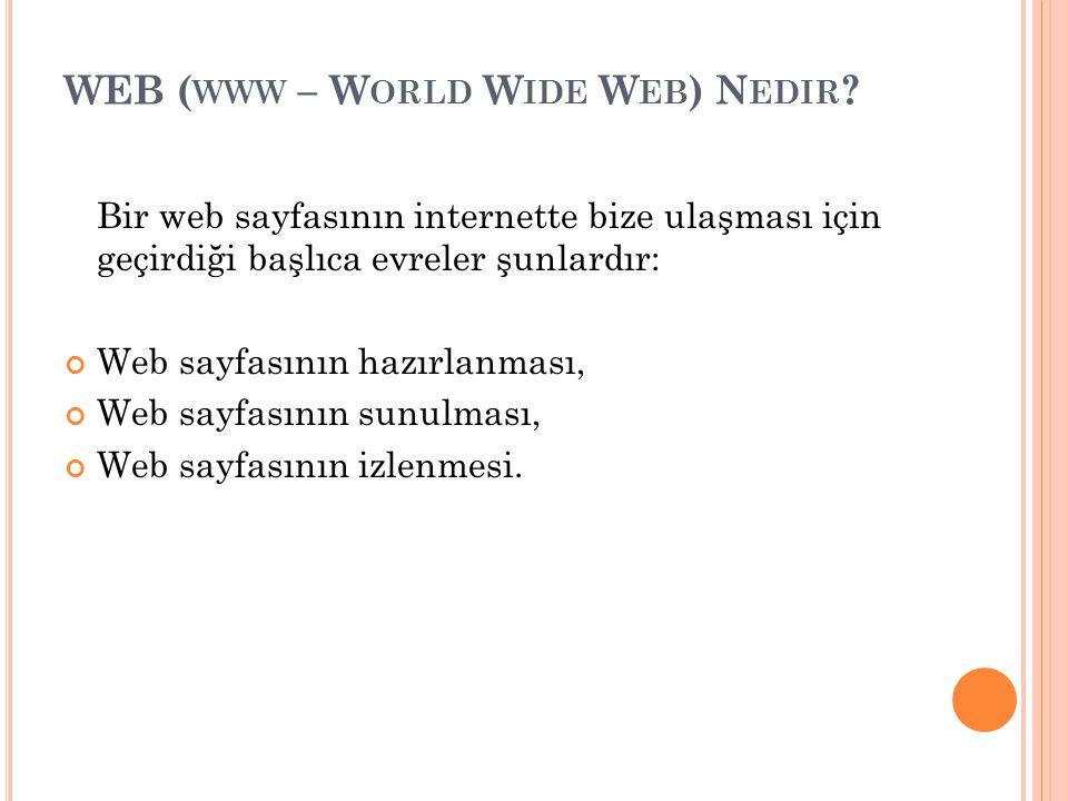 WEB ( WWW – W ORLD W IDE W EB ) N EDIR ? Bir web sayfasının internette bize ulaşması için geçirdiği başlıca evreler şunlardır: Web sayfasının hazırlan
