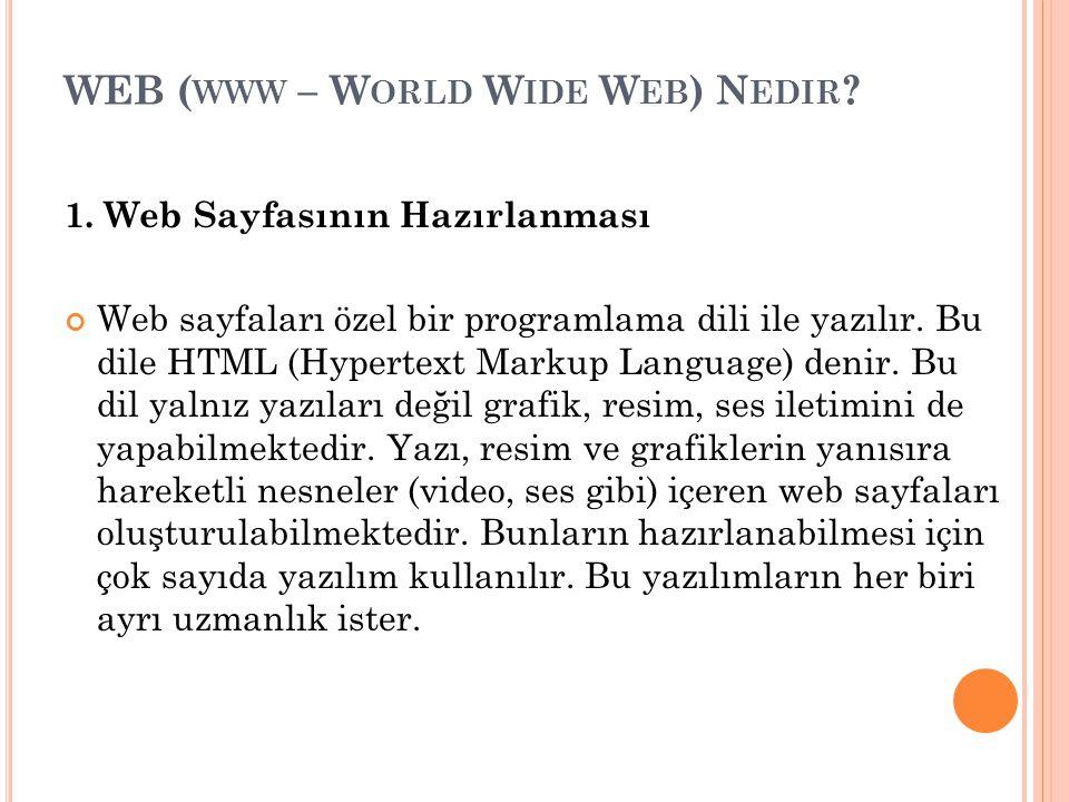 WEB ( WWW – W ORLD W IDE W EB ) N EDIR ? 1. Web Sayfasının Hazırlanması Web sayfaları özel bir programlama dili ile yazılır. Bu dile HTML (Hypertext M