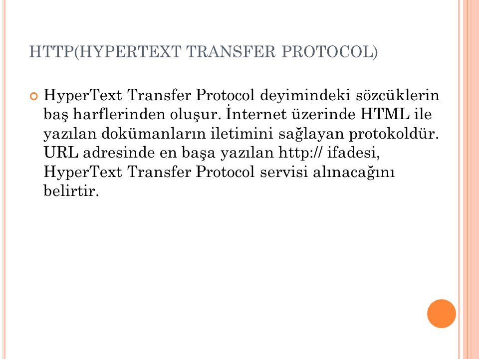 HTTP(HYPERTEXT TRANSFER PROTOCOL) HyperText Transfer Protocol deyimindeki sözcüklerin baş harflerinden oluşur. İnternet üzerinde HTML ile yazılan dokü