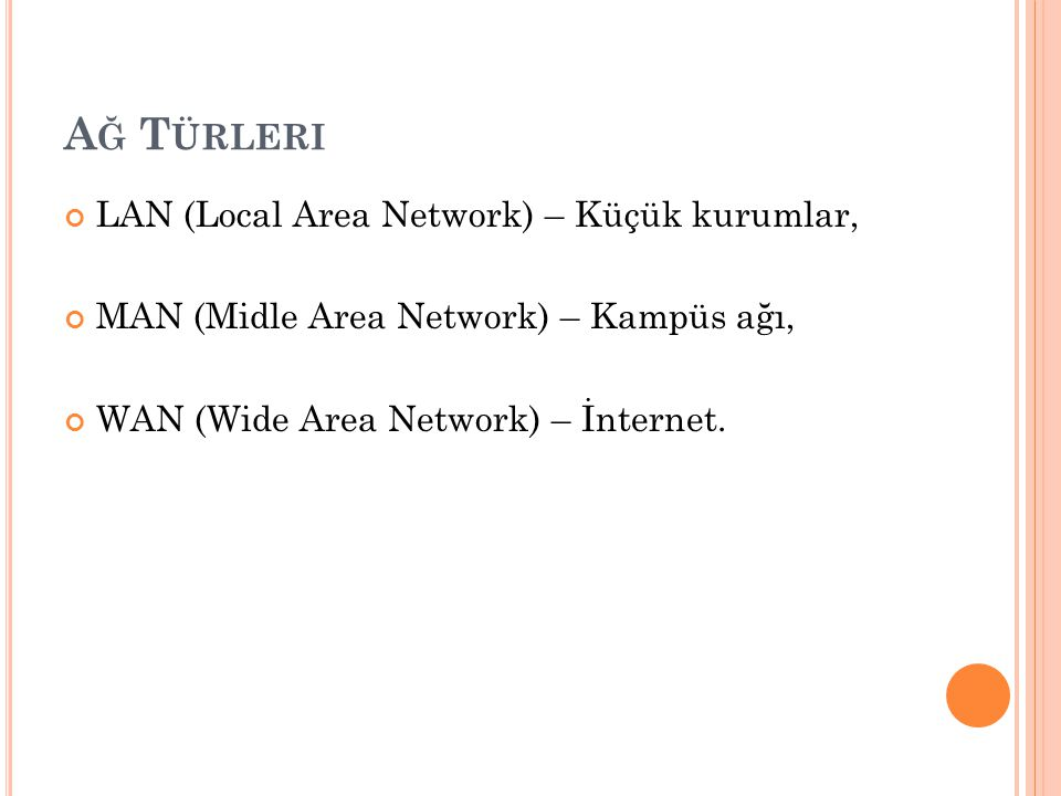 A Ğ T ÜRLERI LAN (Local Area Network) – Küçük kurumlar, MAN (Midle Area Network) – Kampüs ağı, WAN (Wide Area Network) – İnternet.