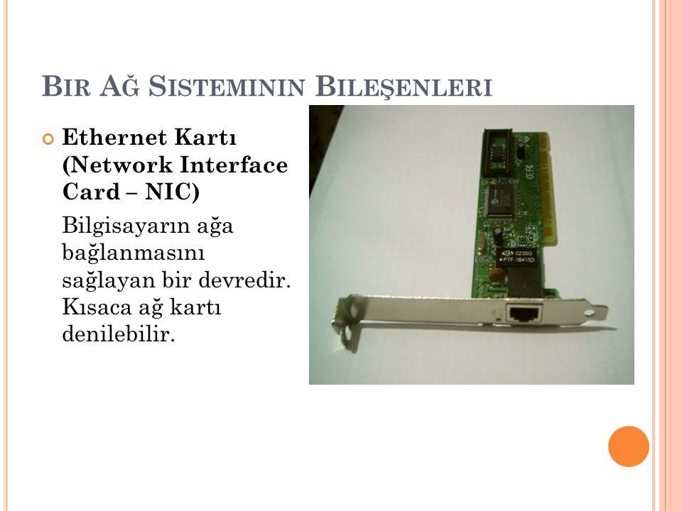 B IR A Ğ S ISTEMININ B ILEŞENLERI Ethernet Kartı (Network Interface Card – NIC) Bilgisayarın ağa bağlanmasını sağlayan bir devredir. Kısaca ağ kartı d