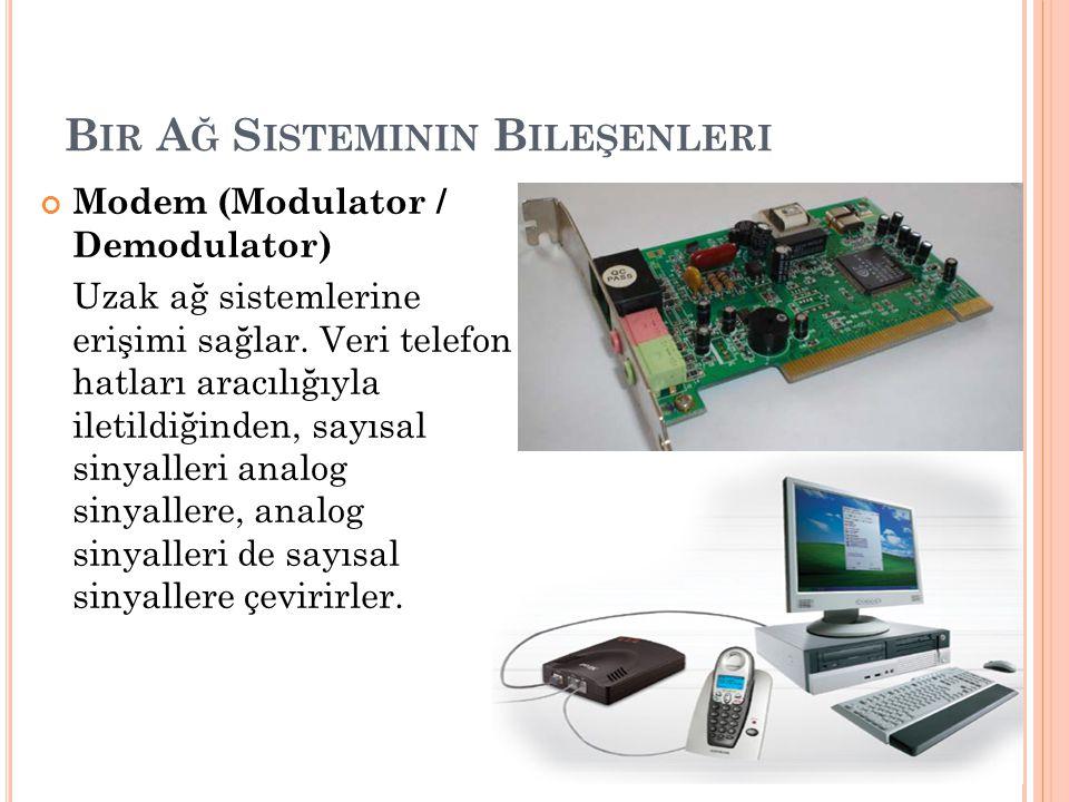 B IR A Ğ S ISTEMININ B ILEŞENLERI Modem (Modulator / Demodulator) Uzak ağ sistemlerine erişimi sağlar. Veri telefon hatları aracılığıyla iletildiğinde