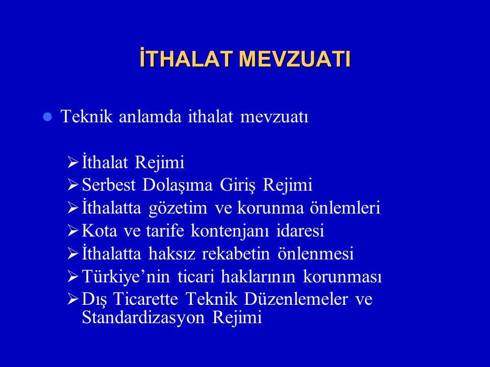 İTHALAT MEVZUATI  Teknik anlamda ithalat mevzuatı  İthalat Rejimi  Serbest Dolaşıma Giriş Rejimi  İthalatta gözetim ve korunma önlemleri  Kota ve tarife kontenjanı idaresi  İthalatta haksız rekabetin önlenmesi  Türkiye'nin ticari haklarının korunması  Dış Ticarette Teknik Düzenlemeler ve Standardizasyon Rejimi