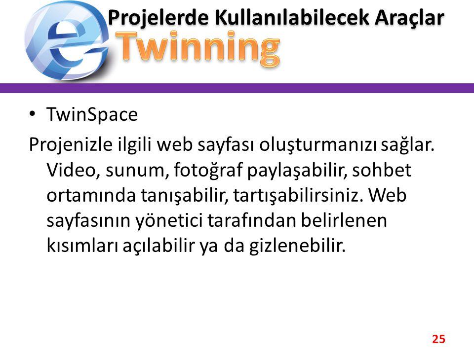 • TwinSpace Projenizle ilgili web sayfası oluşturmanızı sağlar. Video, sunum, fotoğraf paylaşabilir, sohbet ortamında tanışabilir, tartışabilirsiniz.