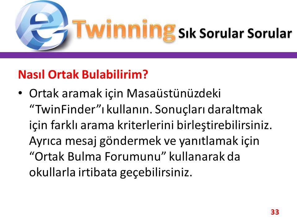 """33 Nasıl Ortak Bulabilirim? • Ortak aramak için Masaüstünüzdeki """"TwinFinder""""ı kullanın. Sonuçları daraltmak için farklı arama kriterlerini birleştireb"""