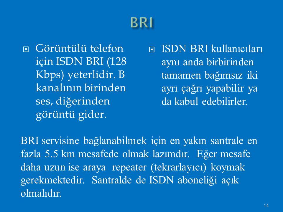  Görüntülü telefon için ISDN BRI (128 Kbps) yeterlidir.