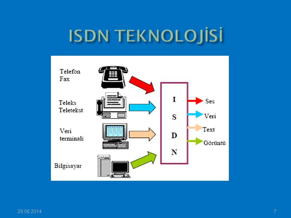29.06.201418 Terminal Adaptör (TA): ISDN özelliği olmayan sistemlere ISDN özellik kazandıran bir uç birim uyarlayıcıdır.