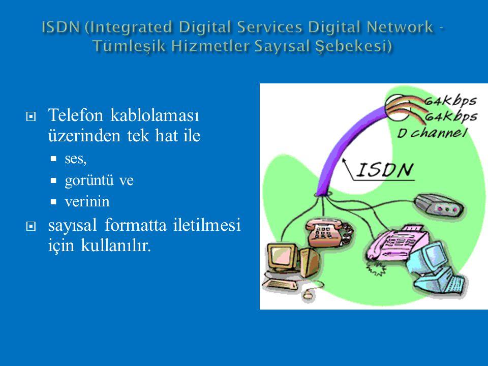 19 Şebeke Sonlandırıcı (NT): Tüm ISDN terminallerinin tek bir ISDN hattına bağlantısını sağlayan bir arabirim cihaz olup, bir NT cihazına 8 adet terminal (telefon, faks, PC gibi) bağlanabilmektedir.