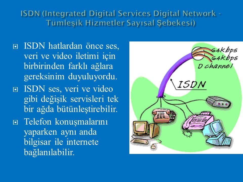  ISDN hatlardan önce ses, veri ve video iletimi için birbirinden farklı ağlara gereksinim duyuluyordu.