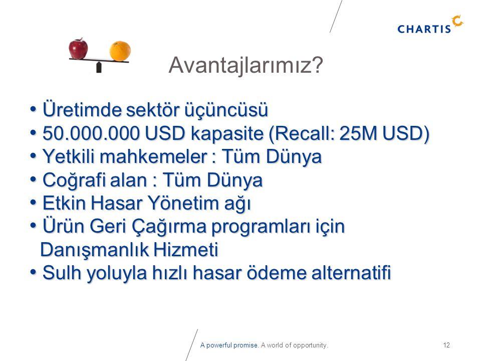 A powerful promise. A world of opportunity.12 Avantajlarımız? • Üretimde sektör üçüncüsü • 50.000.000 USD kapasite (Recall: 25M USD) • Yetkili mahkeme