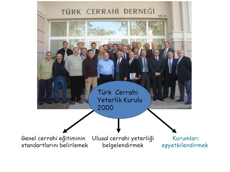 Türk Cerrahi Yeterlik Kurulu 2000 Genel cerrahi eğitiminin Ulusal cerrahi yeterliği Kurumları standartlarını belirlemek belgelendirmek eşyetkilendirmek