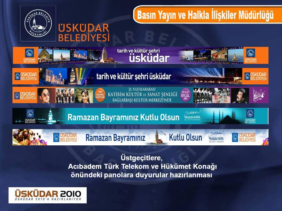 Üstgeçitlere, Acıbadem Türk Telekom ve Hükümet Konağı önündeki panolara duyurular hazırlanması