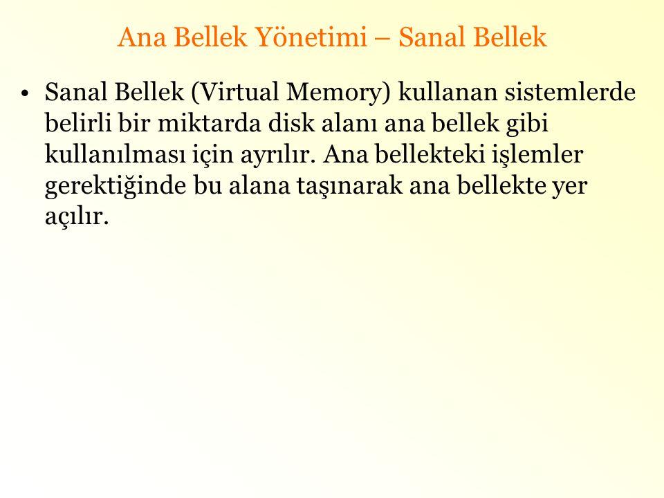 Ana Bellek Yönetimi – Sanal Bellek •Sanal Bellek (Virtual Memory) kullanan sistemlerde belirli bir miktarda disk alanı ana bellek gibi kullanılması iç