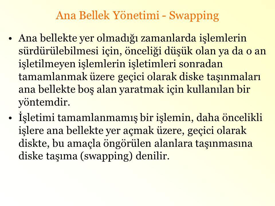 Ana Bellek Yönetimi - Swapping •Ana bellekte yer olmadığı zamanlarda işlemlerin sürdürülebilmesi için, önceliği düşük olan ya da o an işletilmeyen işl