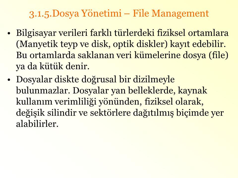 3.1.5.Dosya Yönetimi – File Management •Bilgisayar verileri farklı türlerdeki fiziksel ortamlara (Manyetik teyp ve disk, optik diskler) kayıt edebilir
