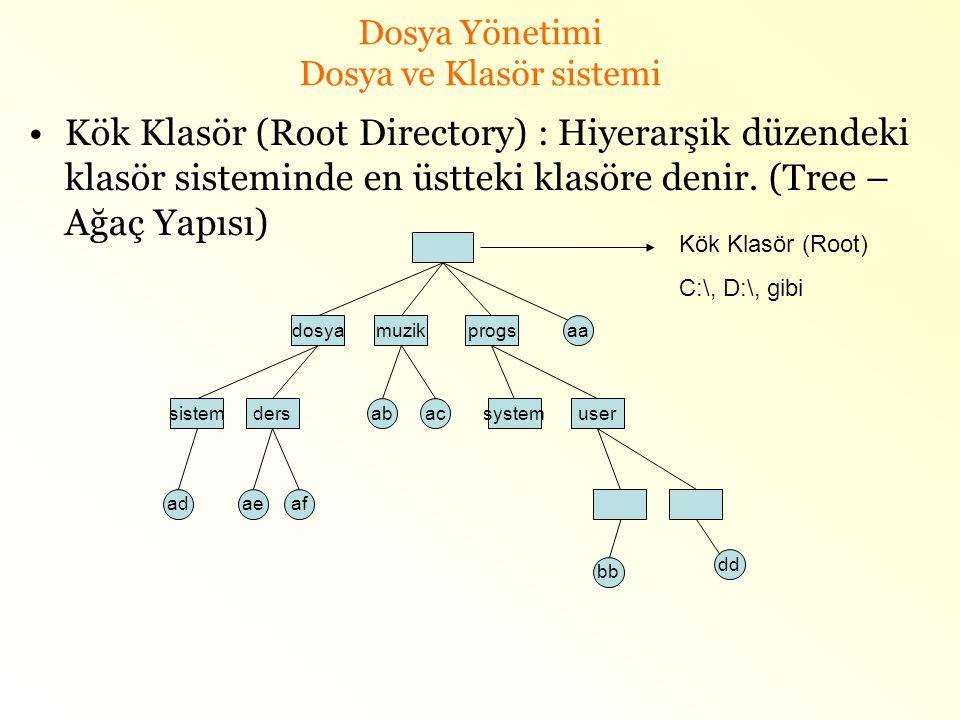 Dosya Yönetimi Dosya ve Klasör sistemi •Kök Klasör (Root Directory) : Hiyerarşik düzendeki klasör sisteminde en üstteki klasöre denir. (Tree – Ağaç Ya