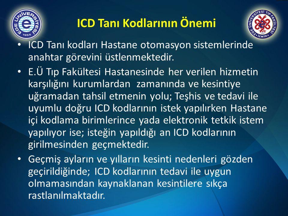 ICD Tanı Kodlarının Önemi • ICD Tanı kodları Hastane otomasyon sistemlerinde anahtar görevini üstlenmektedir. • E.Ü Tıp Fakültesi Hastanesinde her ver