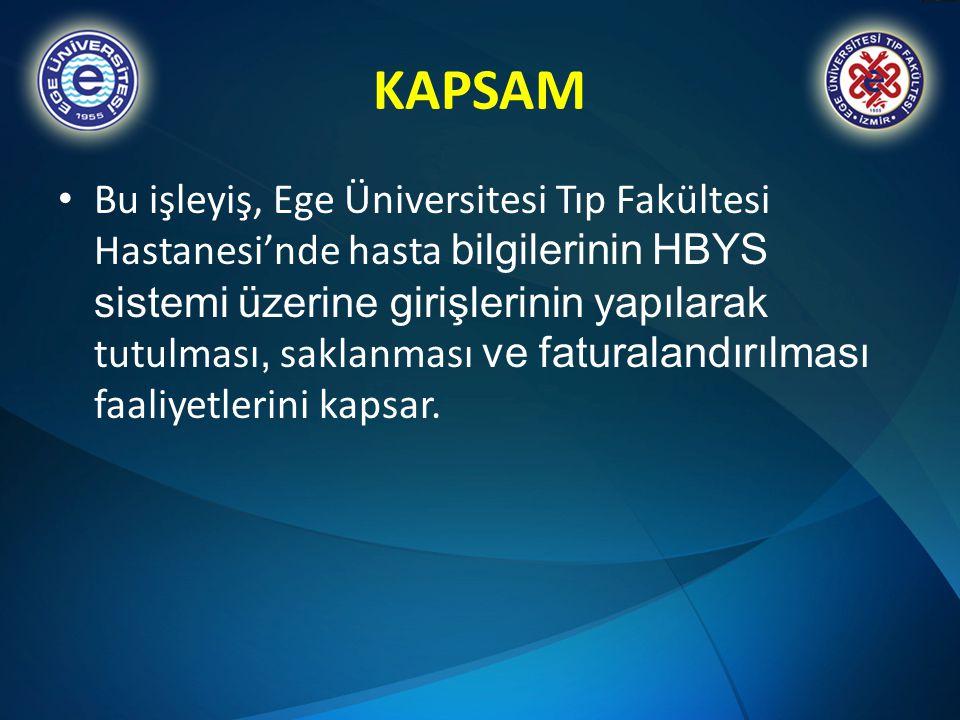 KAPSAM • Bu işleyiş, Ege Üniversitesi Tıp Fakültesi Hastanesi'nde hasta bilgilerinin HBYS sistemi üzerine girişlerinin yapılarak tutulması, saklanması