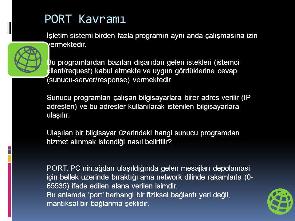 PORT Kavramı İşletim sistemi birden fazla programın aynı anda çalışmasına izin vermektedir. Bu programlardan bazıları dışarıdan gelen istekleri (istem