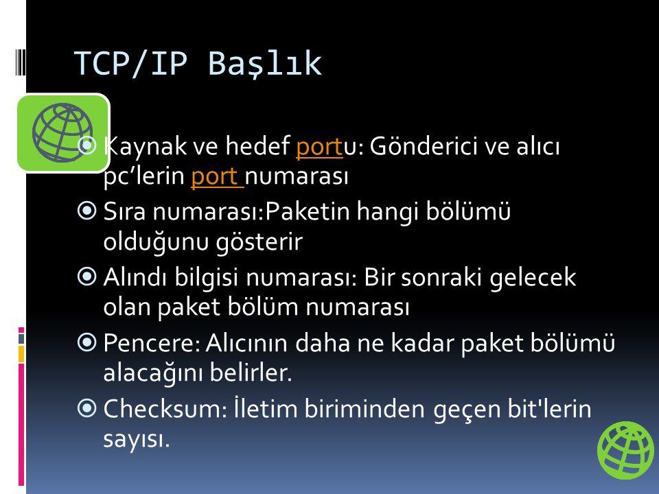 TCP/IP Başlık  Kaynak ve hedef portu: Gönderici ve alıcı pc'lerin port numarasıport  Sıra numarası:Paketin hangi bölümü olduğunu gösterir  Alındı b