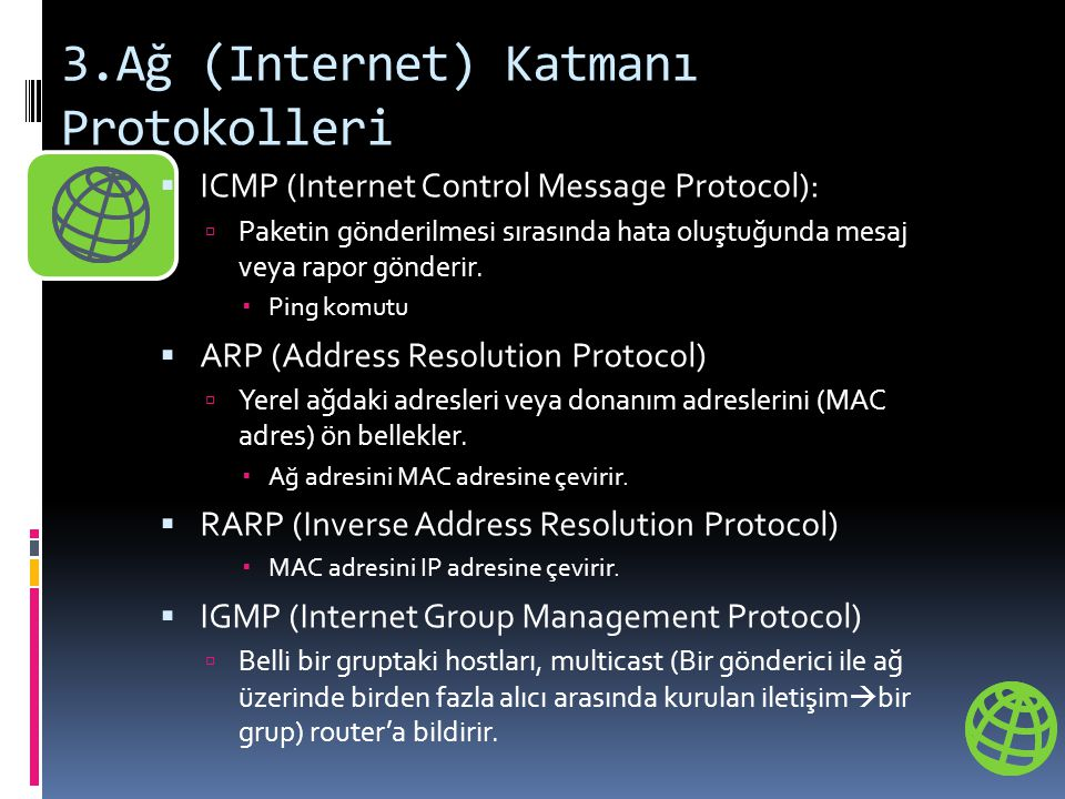 3.Ağ (Internet) Katmanı Protokolleri  ICMP (Internet Control Message Protocol):  Paketin gönderilmesi sırasında hata oluştuğunda mesaj veya rapor gönderir.