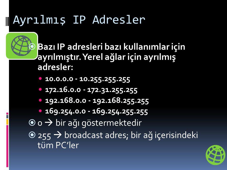 Ayrılmış IP Adresler  Bazı IP adresleri bazı kullanımlar için ayrılmıştır. Yerel ağlar için ayrılmış adresler:  10.0.0.0 - 10.255.255.255  172.16.0