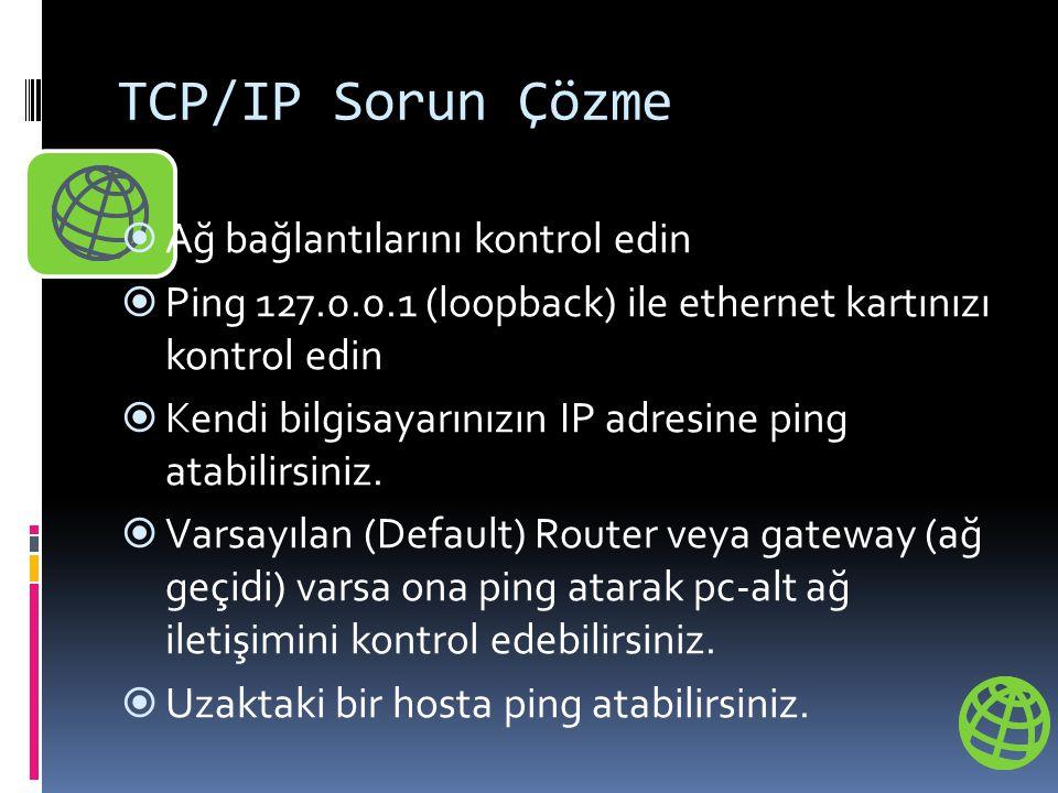 TCP/IP Sorun Çözme  Ağ bağlantılarını kontrol edin  Ping 127.0.0.1 (loopback) ile ethernet kartınızı kontrol edin  Kendi bilgisayarınızın IP adresi