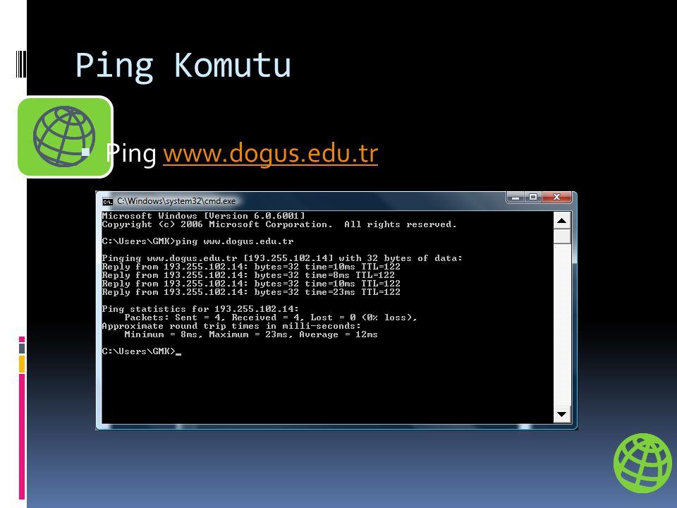 Ping Komutu  Ping www.dogus.edu.trwww.dogus.edu.tr